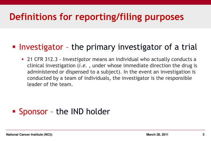 Definitions for reporting/filing purposes
