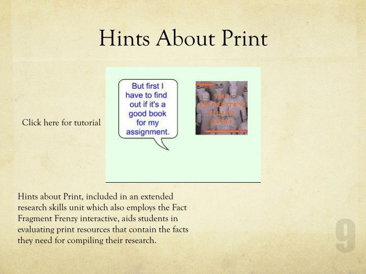 Hints About Print
