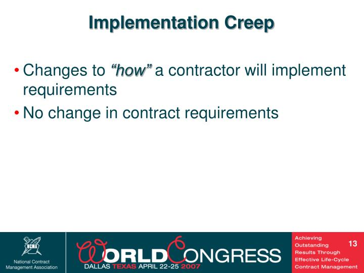 Implementation Creep