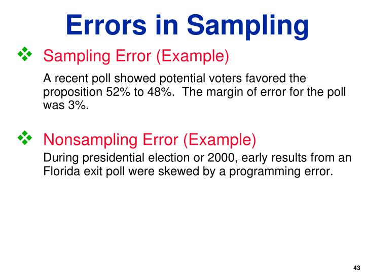 Sampling Error (Example)