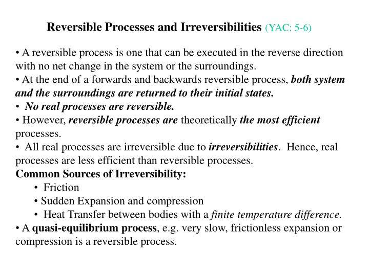 Reversible Processes and Irreversibilities
