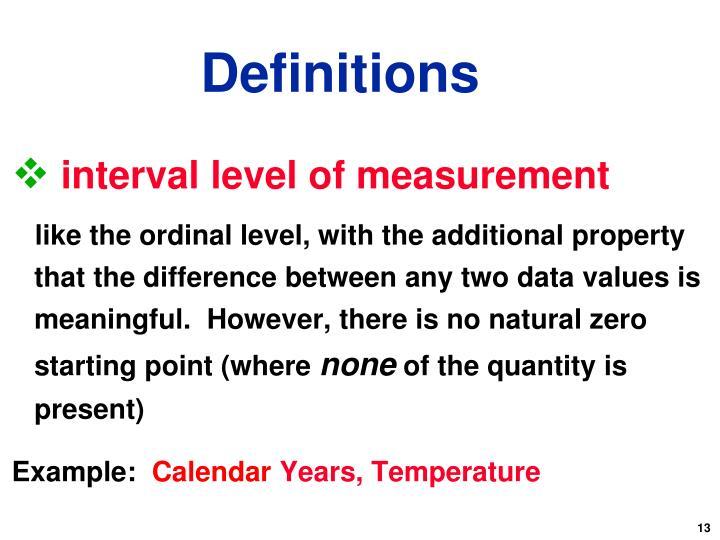interval level of measurement