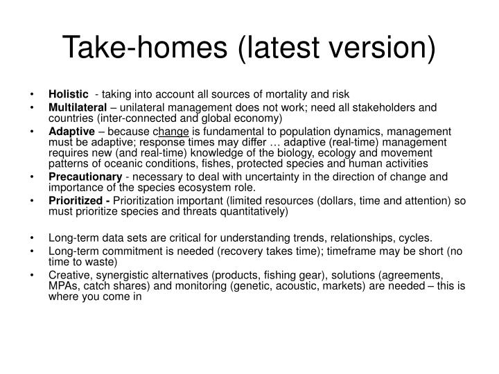 Take-homes (latest version)