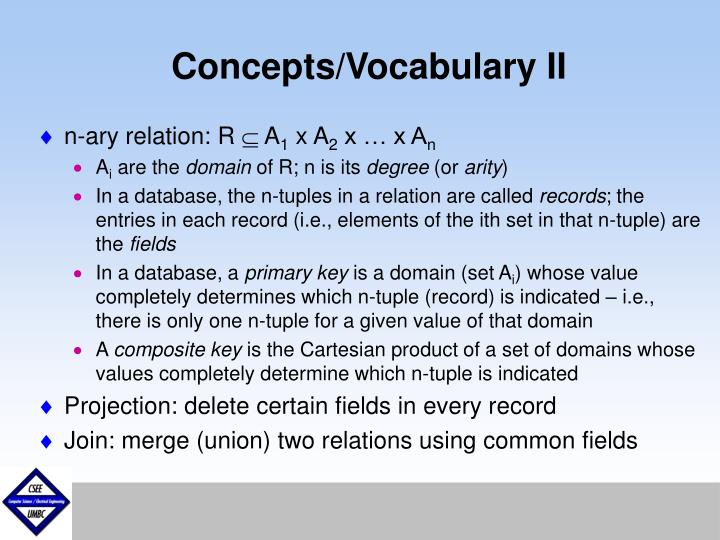 Concepts/Vocabulary II
