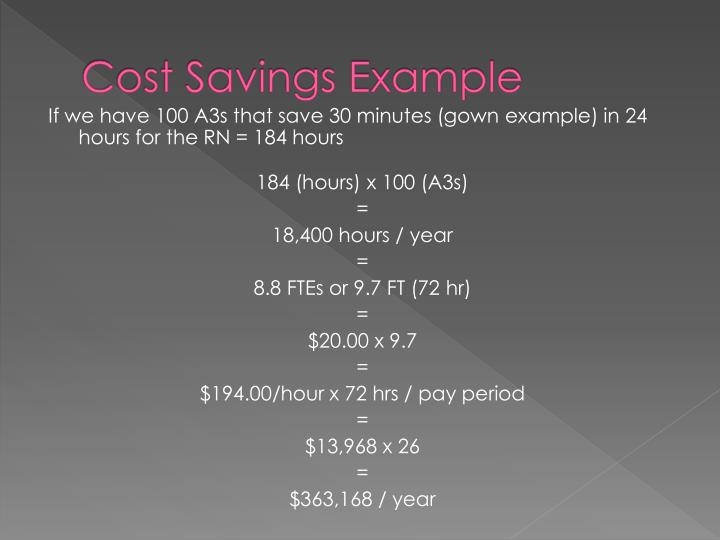 Cost Savings Example