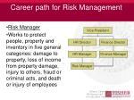 career path for risk management