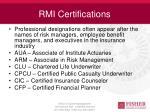 rmi certifications