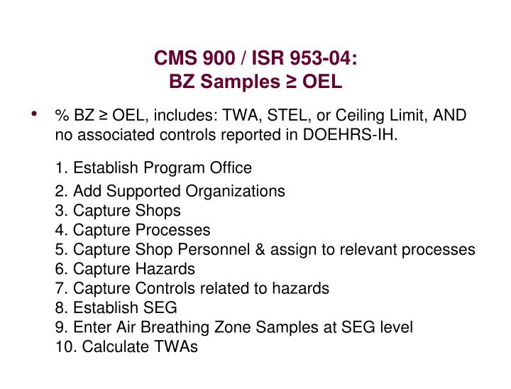 Cms 900 isr 953 04 bz samples oel