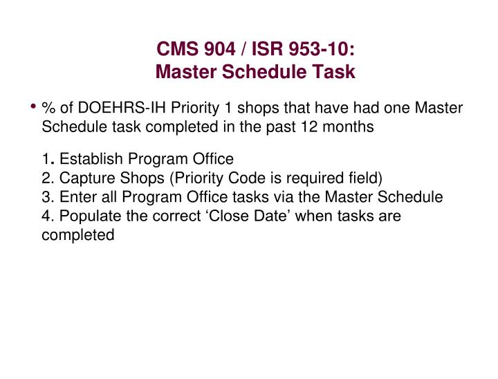 CMS 904 / ISR 953-10:
