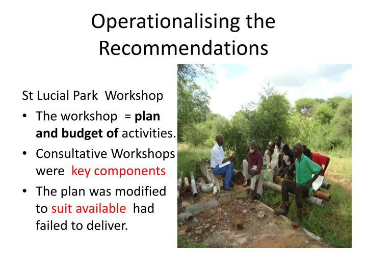 Operationalising the Recommendations