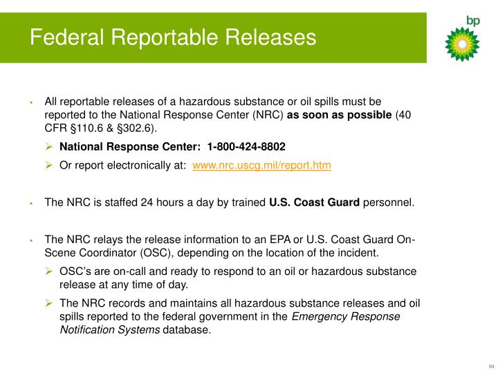 Federal Reportable Releases