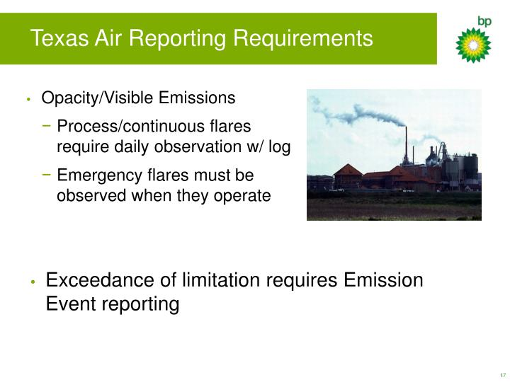 Texas Air Reporting Requirements