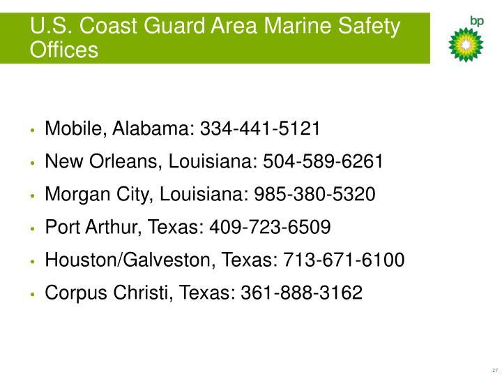 U.S. Coast Guard Area Marine Safety Offices