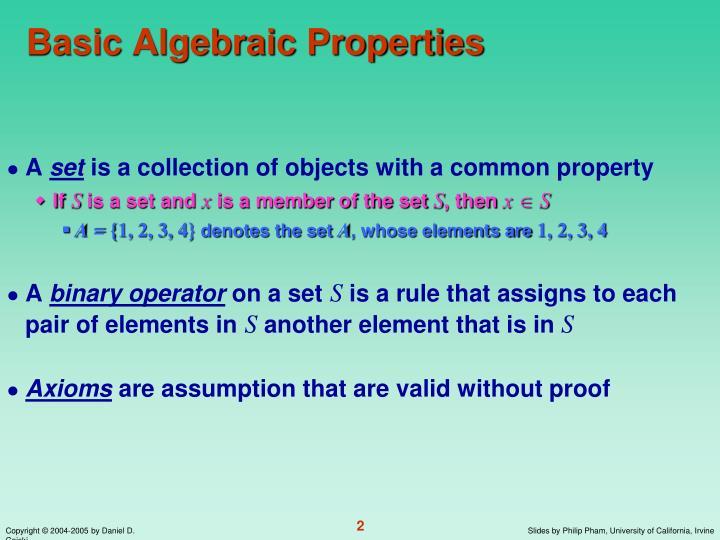 Basic algebraic properties
