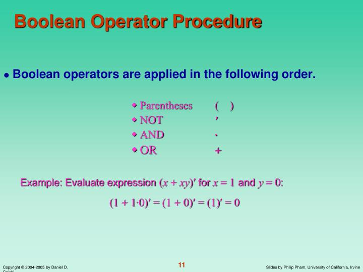 Boolean Operator Procedure
