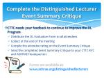 complete the distinguished lecturer event summary critique