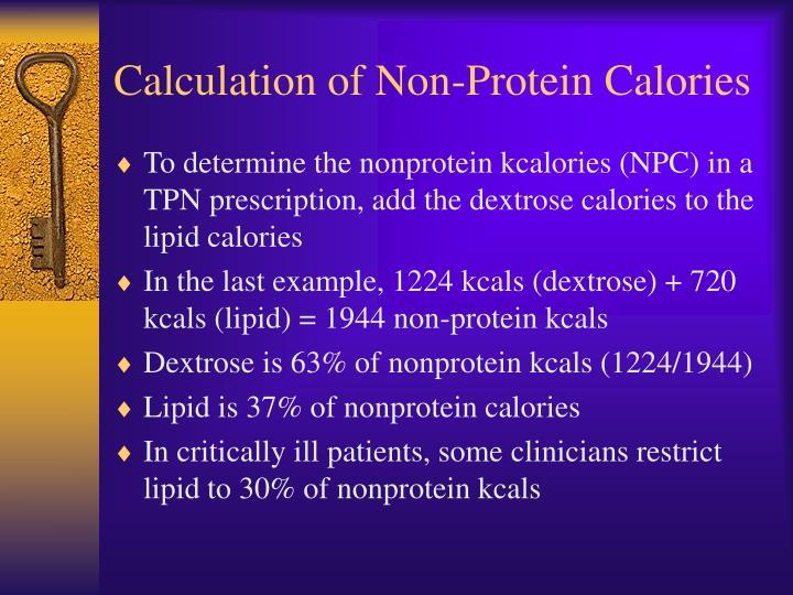 Calculation of Non-Protein Calories