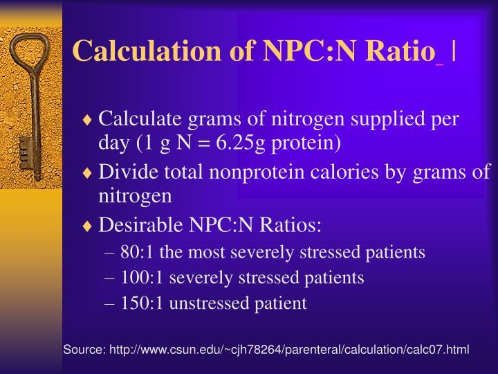 Calculation of NPC:N Ratio
