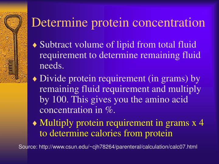 Determine protein concentration