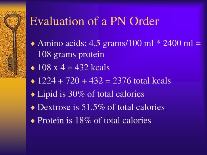 Evaluation of a PN Order