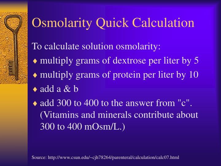 Osmolarity Quick Calculation