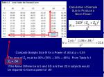 calculation of sample size to produce a given power