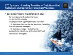 170 systems leading provider of solutions that automate and optimize financial processes1