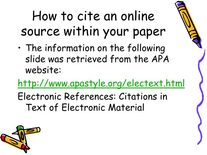 How to cite an online source within your paper