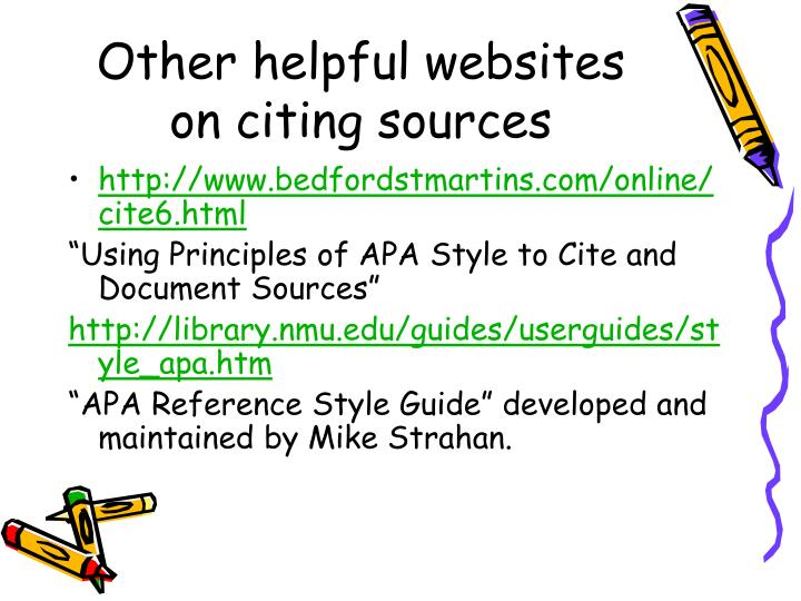 Other helpful websites on citing sources