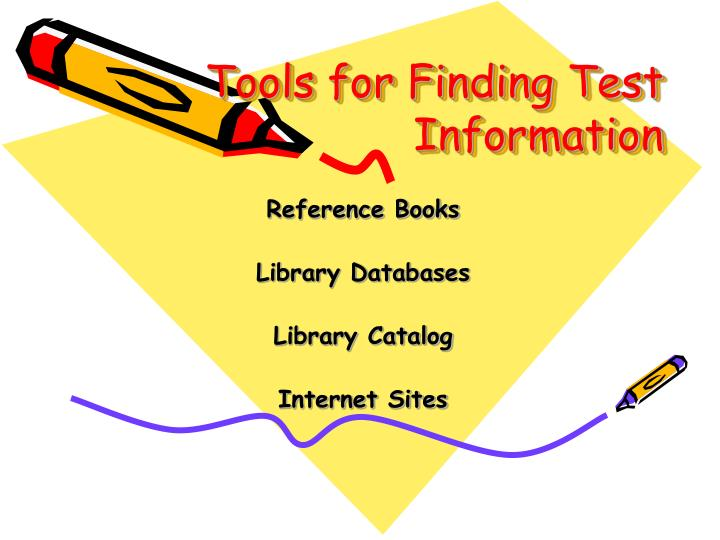 Tools for finding test information