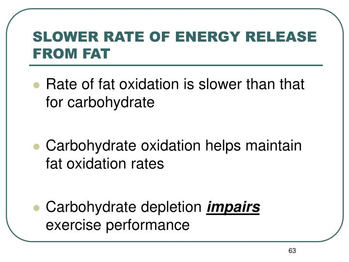 SLOWER RATE OF ENERGY RELEASE FROM FAT