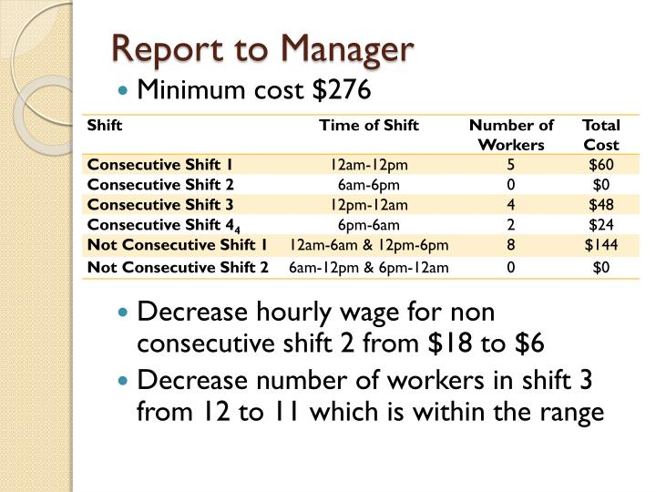 Report to Manager