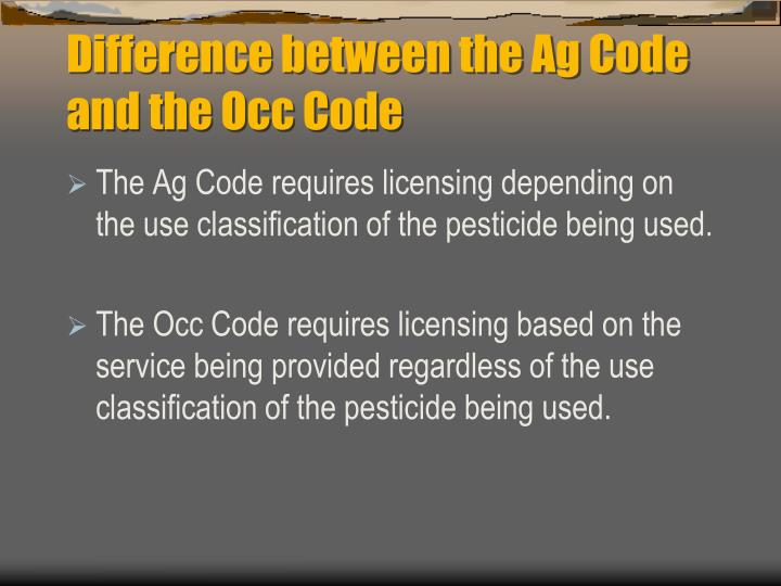 Difference between the Ag Code and the Occ Code