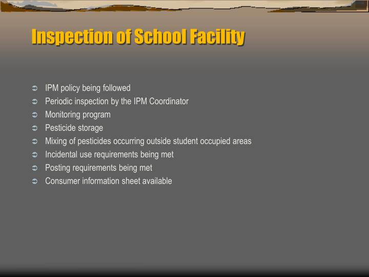 Inspection of School Facility