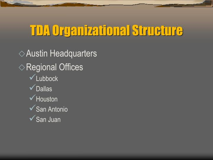 TDA Organizational Structure