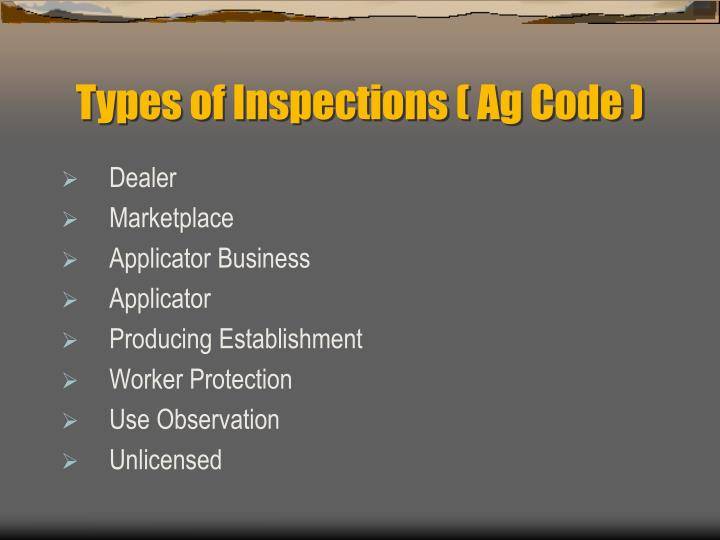 Types of Inspections ( Ag Code )