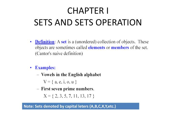 Chapter i sets and sets operation