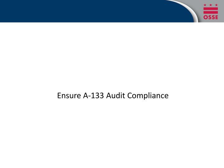 Ensure A-133 Audit Compliance