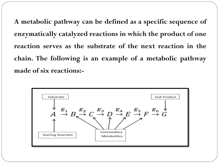 A metabolic pathway can be defined as a specific sequence of enzymatically catalyzed reactions in which the product of one reaction serves as the substrate of the next reaction in the chain. The following is an example of a metabolic pathway made of six reactions:-