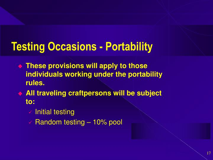 Testing Occasions - Portability