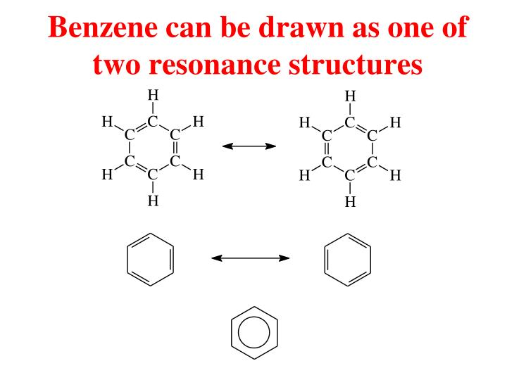 Benzene can be drawn as one of two resonance structures
