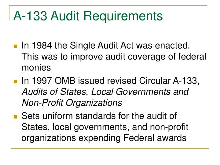 A 133 audit requirements