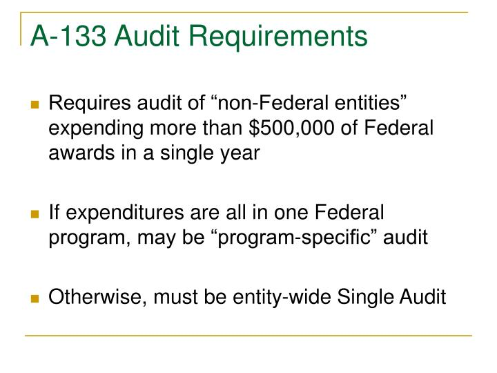 A-133 Audit Requirements