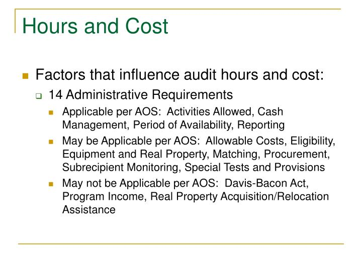 Hours and Cost