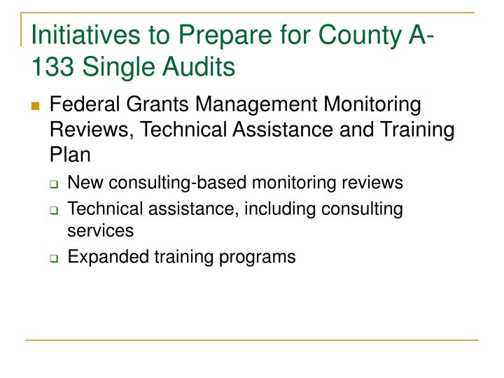 Initiatives to Prepare for County A-133 Single Audits