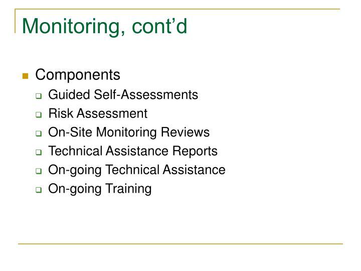 Monitoring, cont'd