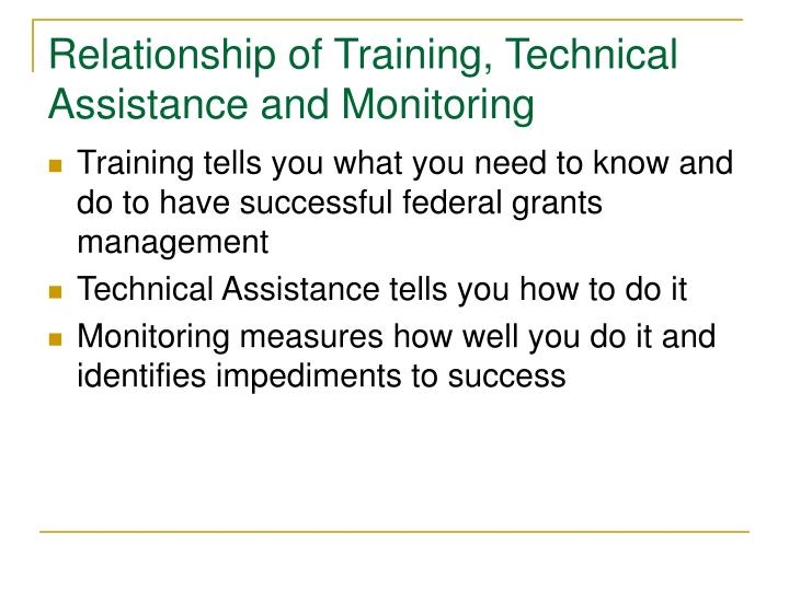 Relationship of Training, Technical Assistance and Monitoring