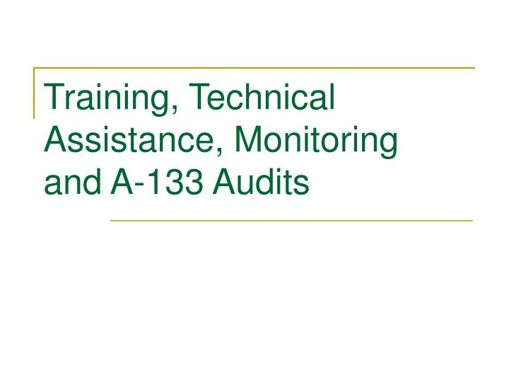 Training technical assistance monitoring and a 133 audits