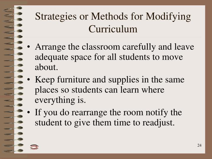 Strategies or Methods for Modifying Curriculum