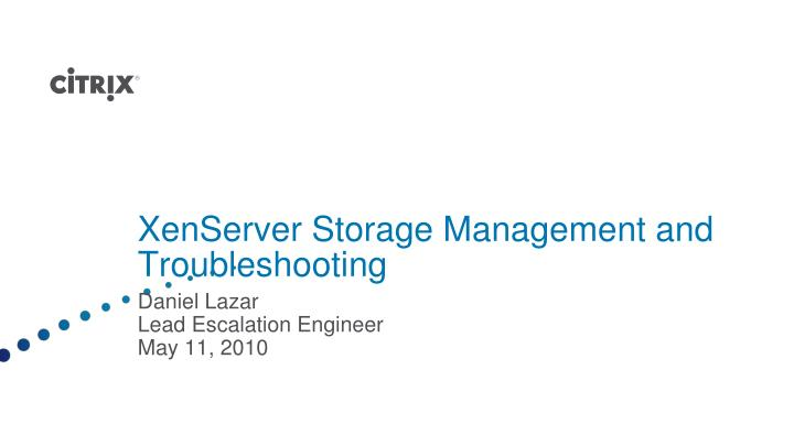 xenserver storage management and troubleshooting n.